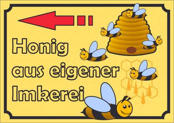 Werbeaufkleber Aufkleber Honig mit Pfeil nach links