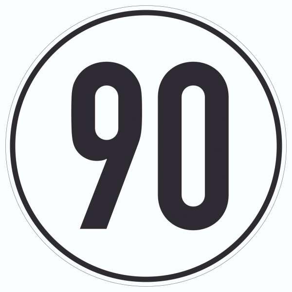 90km/h Geschwindigkeit Aufkleber Kreis