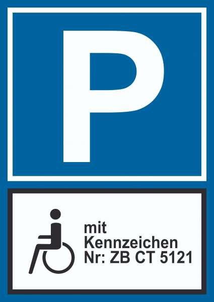 Behinderten Parkplatz mit Kennzeichen Schild, mit Wunschtext, eigener Text