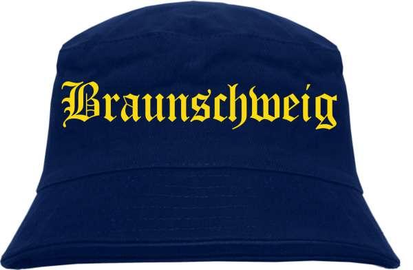 Braunschweig Fischerhut - Dunkelblau - Gelber Druck - Bucket Hat