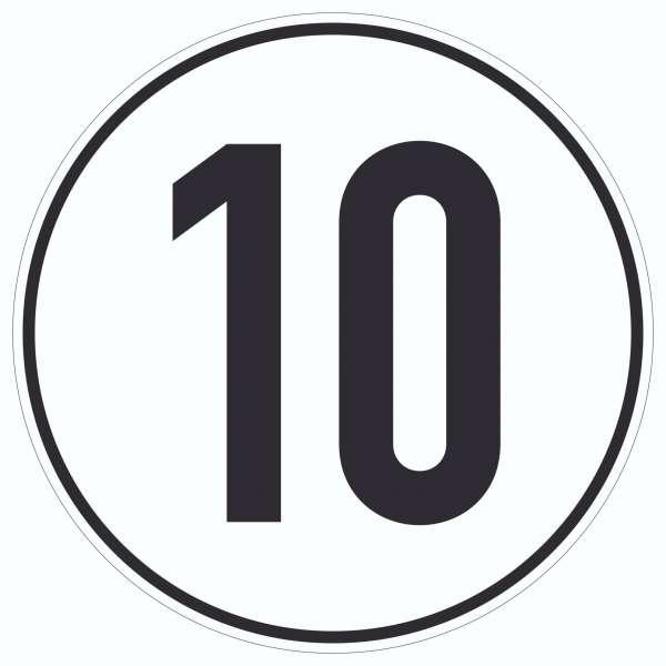 10km/h Geschwindigkeit Aufkleber Kreis