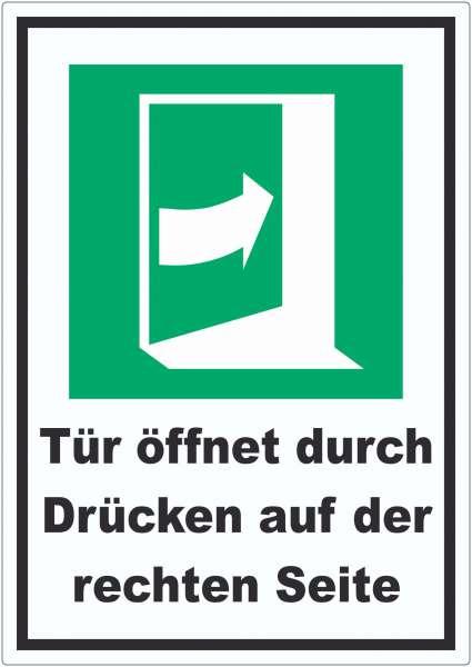 Tür öffnet durch Drücken auf der rechten Seite Aufkleber