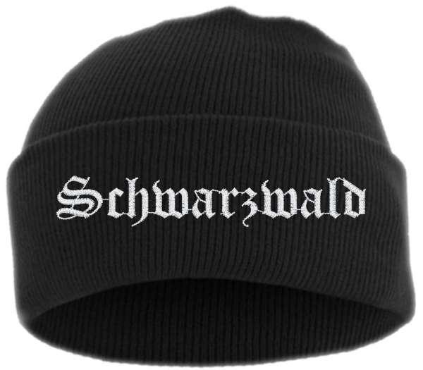 Schwarzwald Umschlagmütze - Altdeutsch - Bestickt - Mütze mit breitem Umschlag
