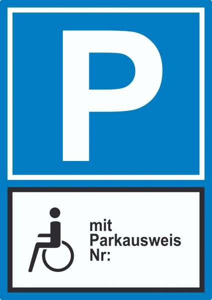 Behinderten Parkplatz mit Parkausweis Aufkleber