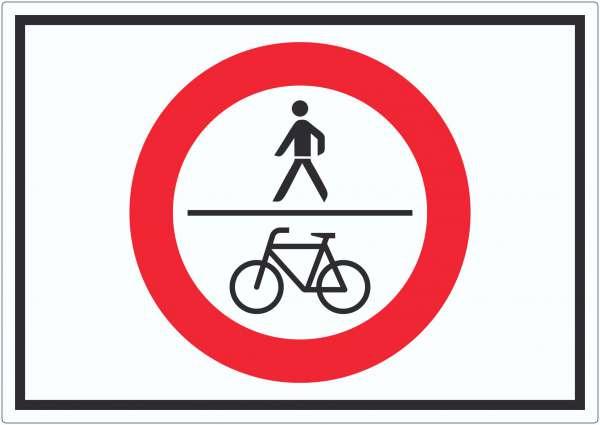 Für Fußgänger und Radfahrer verboten Symbol Aufkleber