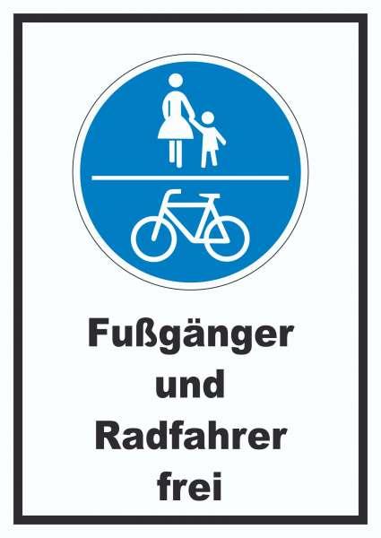 Fußgänger und Radfahrer frei Schild