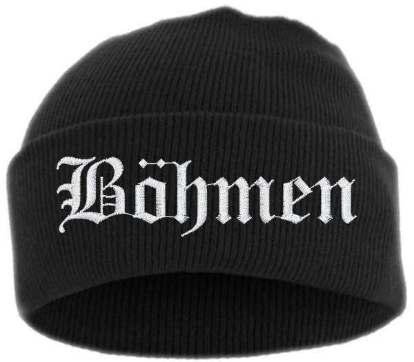 Böhmen Umschlagmütze - Altdeutsch - Bestickt - Mütze mit breitem Umschlag