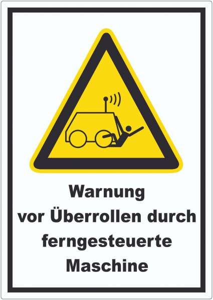 Warnung vor Überrollen durch ferngesteuerte Maschine Aufkleber