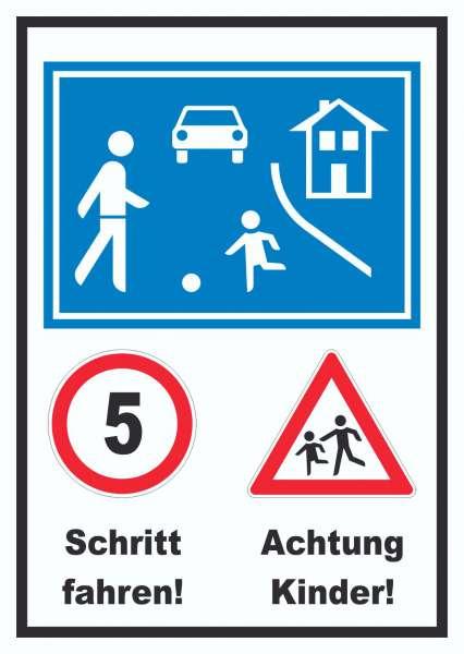 Spielstraße Schrittfahren Achtung Kinder Schild
