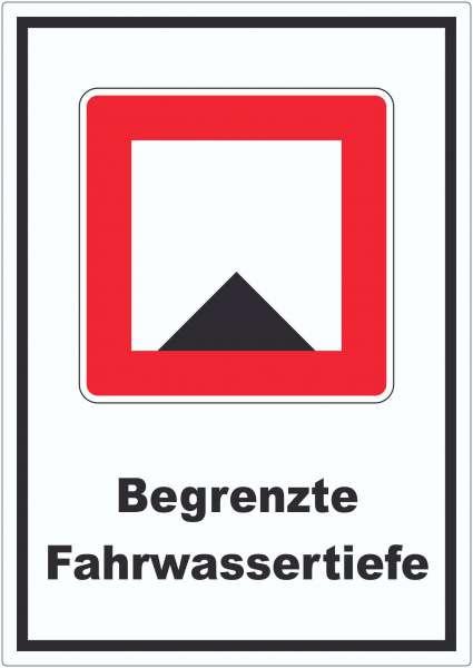 Begrenzte Fahrwassertiefe Tiefe unter Wassserspiegel begrenzt Symbol und Text