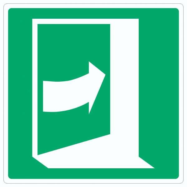 Tür öffnet durch Drücken auf der rechten Seite Symbol Aufkleber Quadrat
