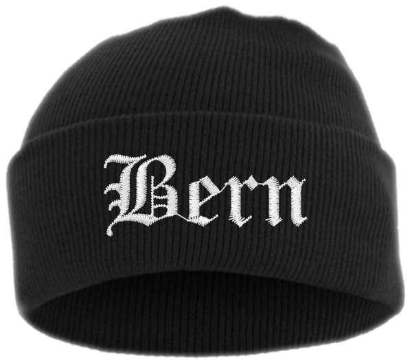 Bern Umschlagmütze - Altdeutsch - Bestickt - Mütze mit breitem Umschlag