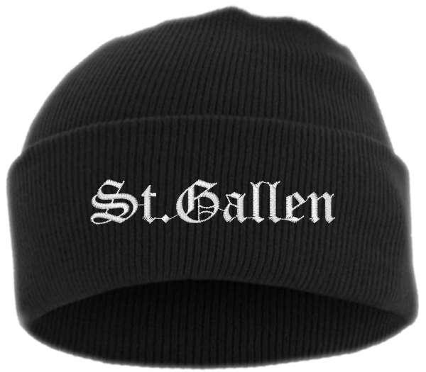 St.Gallen Umschlagmütze - Altdeutsch - Bestickt - Mütze mit breitem Umschlag