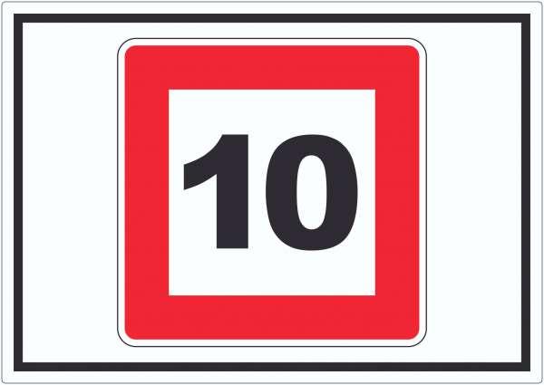 Höchstgeschwindigkeit 10 kmh nicht zu überschreiten Aufkleber mit Symbol