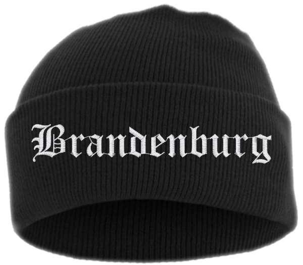 Brandenburg Umschlagmütze - Altdeutsch - Bestickt - Mütze mit breitem Umschlag