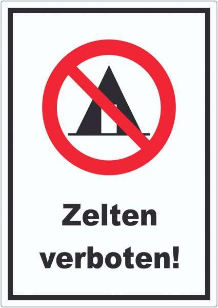Zelten verboten Aufkleber