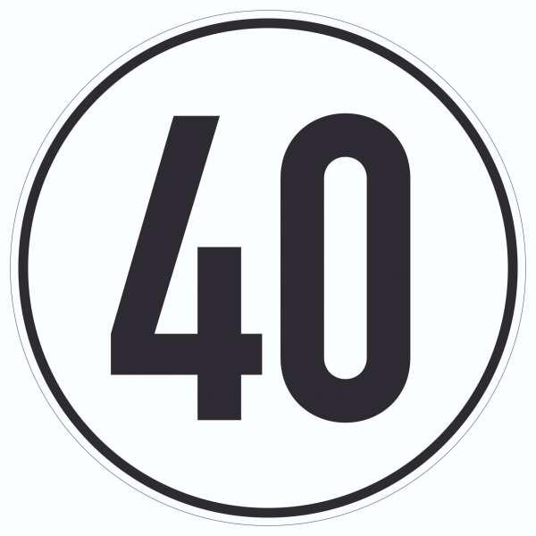 40km/h Geschwindigkeit Aufkleber Kreis