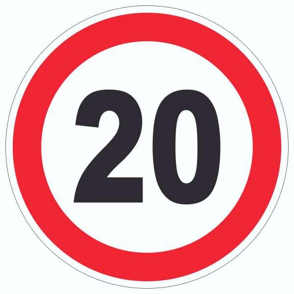 Tempo 20 km/h Geschwindigkeitsbegrenzung Aufkleber Kreis Symbol