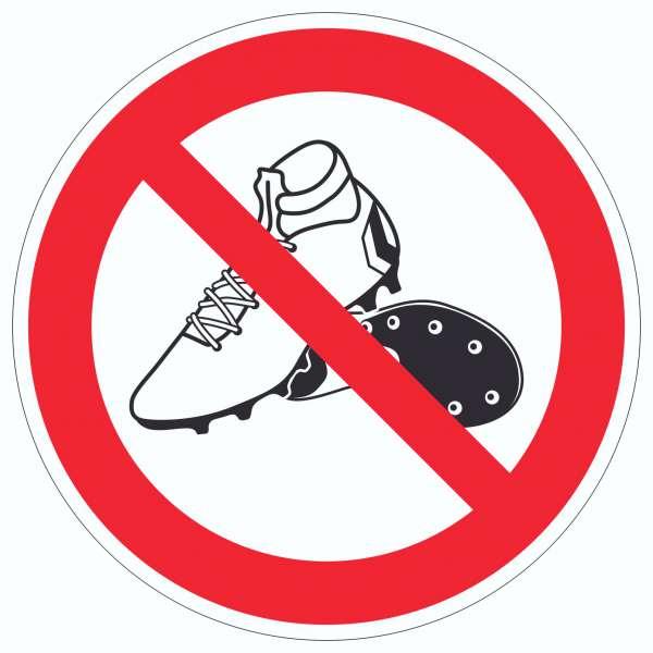 Betreten mit Fussballschuhen verboten! Aufkleber Kreis
