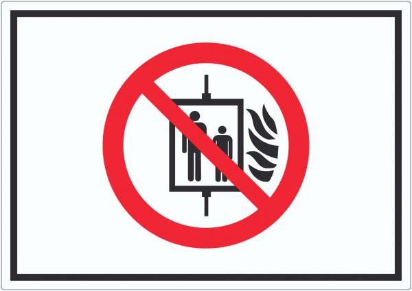 Aufzug im Brandfall nicht benutzen Symbol Aufkleber
