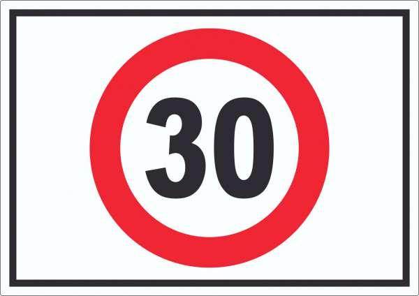 Tempo 30 km/h Geschwindigkeitsbegrenzung Aufkleber Symbol