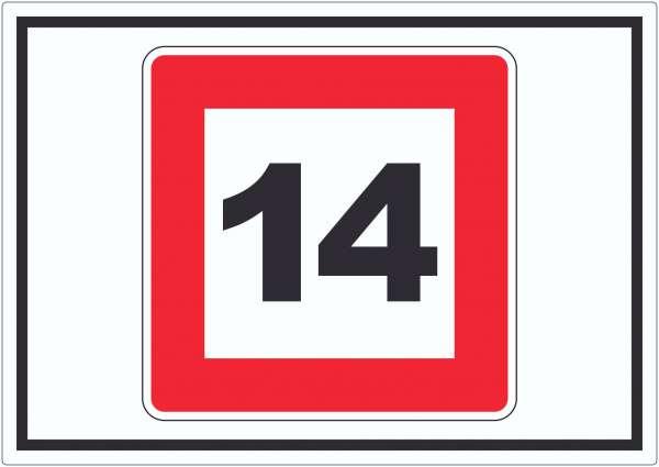 Höchstgeschwindigkeit 14 kmh nicht zu überschreiten Aufkleber mit Symbol
