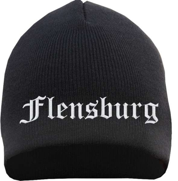 Flensburg Beanie Mütze - Altdeutsch - Bestickt - Strickmütze Wintermütze