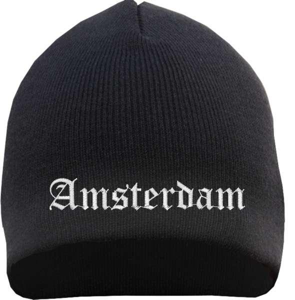 Amsterdam Beanie Mütze - Altdeutsch - Bestickt - Strickmütze Wintermütze