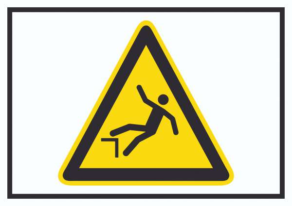 Achtung Absturzgefahr Symbol Schild