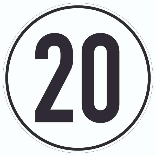 20km/h Geschwindigkeit Aufkleber Kreis