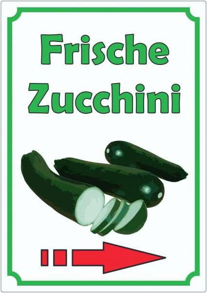 Frische Zucchini Aufkleber Hochkant mit Pfeil rechts