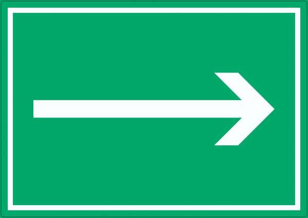 Richtungspfeil rechts Aufkleber waagerecht weiss grün Pfeil
