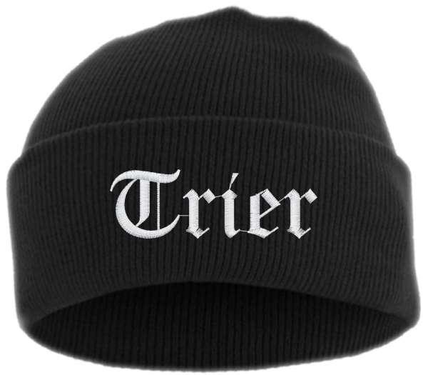 Trier Umschlagmütze - Altdeutsch - Bestickt - Mütze mit breitem Umschlag
