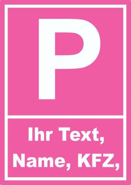 Parkplatz Tussy Aufkleber mit Wunschtext
