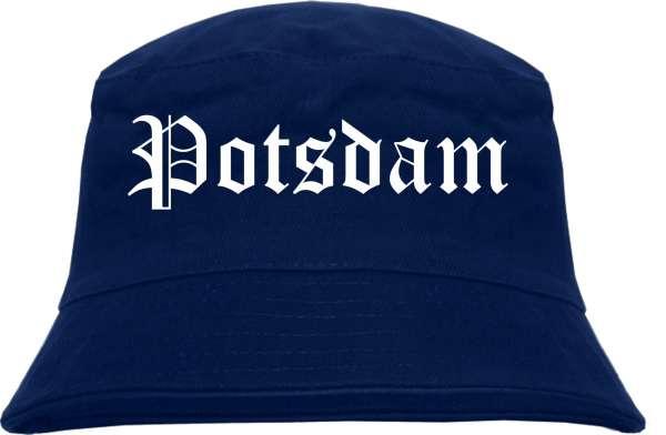 Potsdam Fischerhut - Dunkelblau - Altdeutsch - bedruckt - Bucket Hat Anglerhut Hut