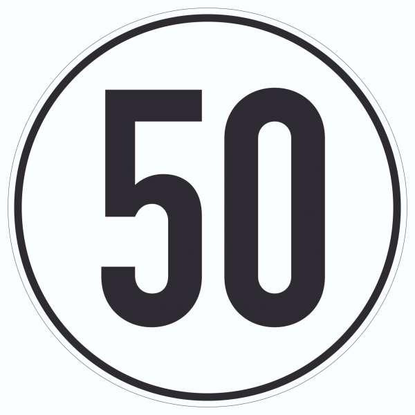 50km/h Geschwindigkeit Aufkleber Kreis