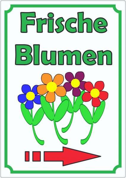 Werbeaufkleber Blumen mit Pfeil rechts Aufkleber Hochkant