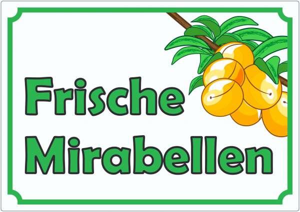 Frische Mirabellen Werbeaufkleber Hofladen Verkaufsförderung