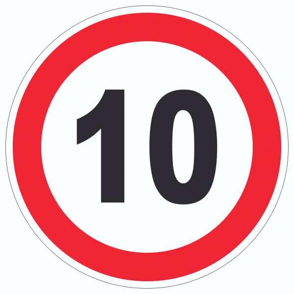 Tempo 10 km/h Geschwindigkeitsbegrenzung Aufkleber Kreis Symbol