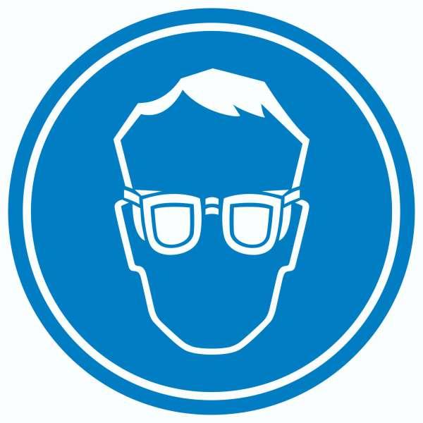 Schutzbrille tragen Aufkleber Kreis