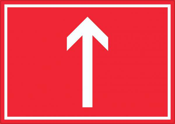 Richtungspfeil hoch Aufkleber waagerecht weiss rot Pfeil