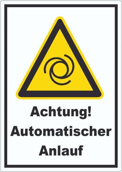 Achtung Automatischer Anlauf Aufkleber