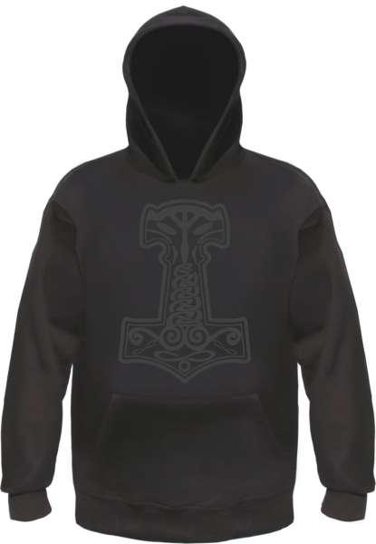 Thorshammer Mjolnir Schwarz Kapuzensweatshirt - bedruckt - Hoodie Kapuzenpullover