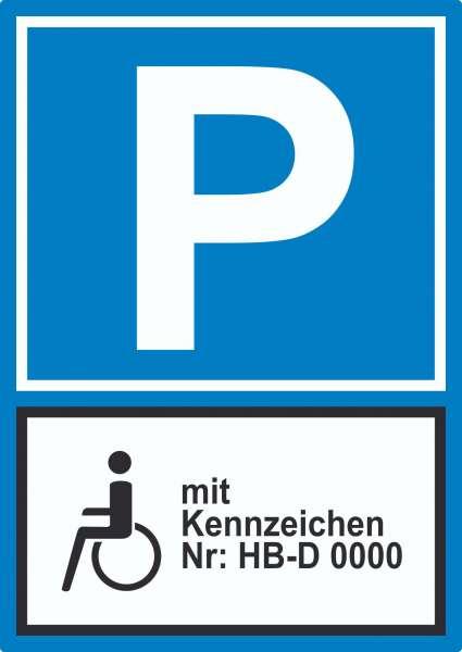 Behinderten Parkplatz mit Kennzeichen Aufkleber