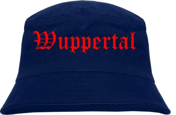 Wuppertal Fischerhut - Dunkelblau - Roter Druck - Bucket Hat