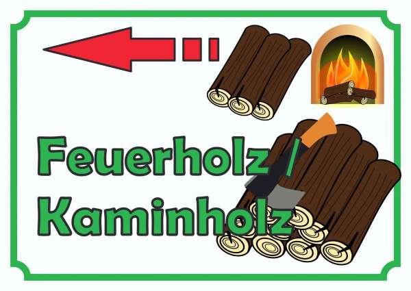 Verkaufsschild Schild Feuerholz links