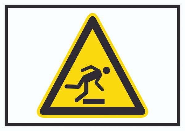 Achtung Hindernisse am Boden Symbol Schild