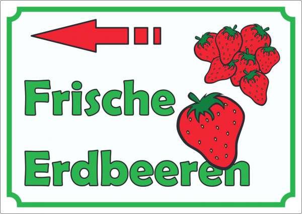 Werbeaufkleber Aufkleber Erdbeeren mit Pfeil nach links