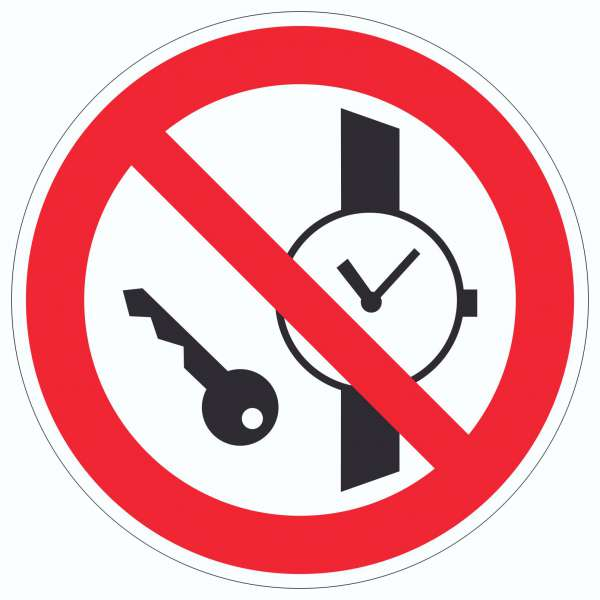 Mitführen von Metallteilen und Uhren verboten Symbol Aufkleber Kreis