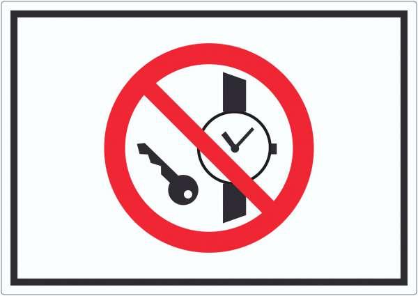 Mitführen von Metallteilen und Uhren verboten Symbol Aufkleber